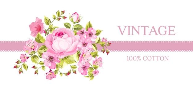 Tarjeta vintage con flores florecientes.