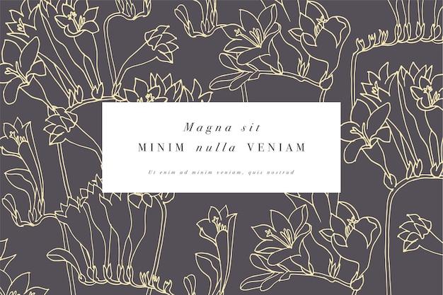 Tarjeta vintage con flores de fresia