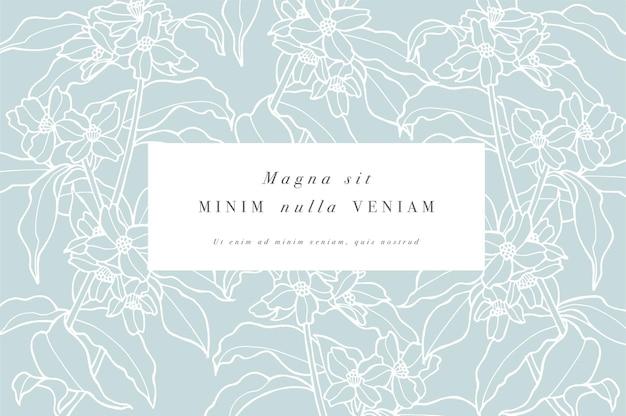Tarjeta vintage con flores de jazmín