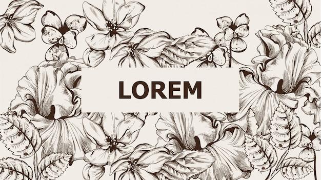 Tarjeta vintage con flores lineart