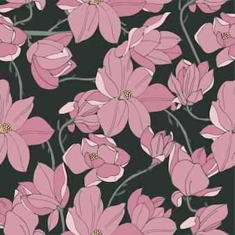 Tarjeta vintage con flores de magnolia Vector Premium