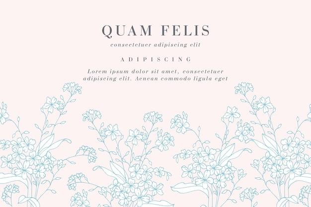 Tarjeta vintage con flores no me olvides. guirnalda floral.