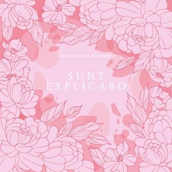 Tarjeta vintage con flores de peonías