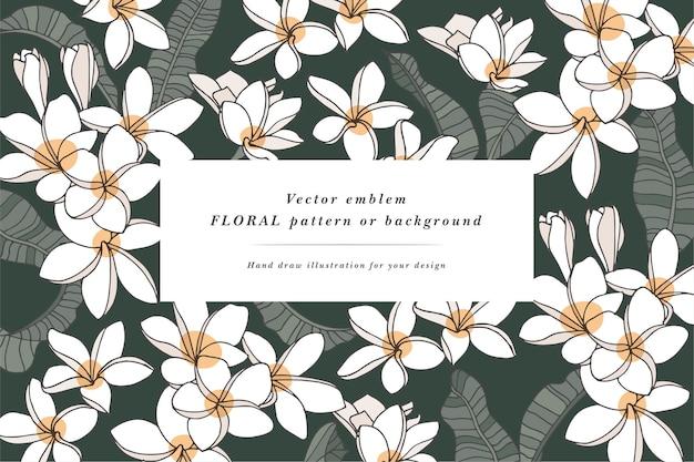 Tarjeta vintage con flores de plumeria con diseño de etiqueta