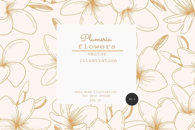 Tarjeta vintage con flores de plumeria. diseños de etiquetas. tarjeta de felicitación. fondo de flores para envases de cosméticos. flores tropicales