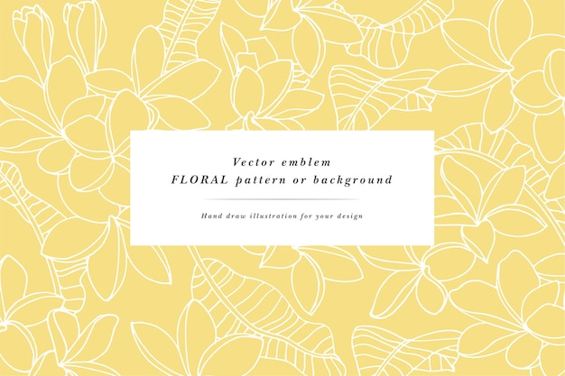 Tarjeta vintage con flores de plumeria con diseños de etiquetas.