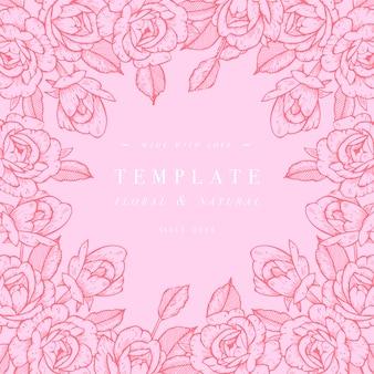 Tarjeta vintage con flores rosas. guirnalda floral marco de flores para invitación de boda. tarjeta de felicitación floral rosa de verano. fondo de flores