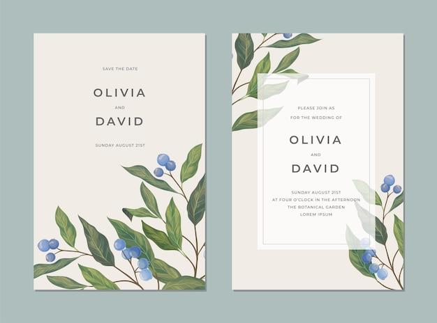 Tarjeta vintage con frutos azules, hojas verdes y un lugar para el texto para cubrir