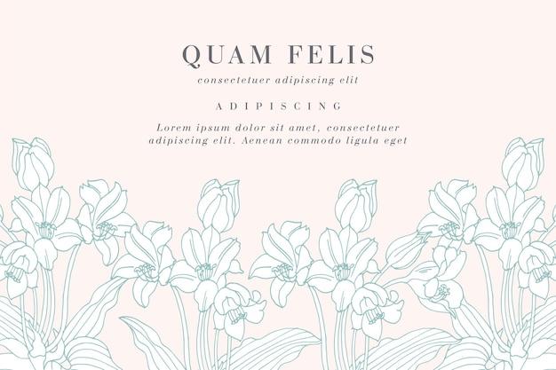 Tarjeta vintage con ilustración de flores de lirio