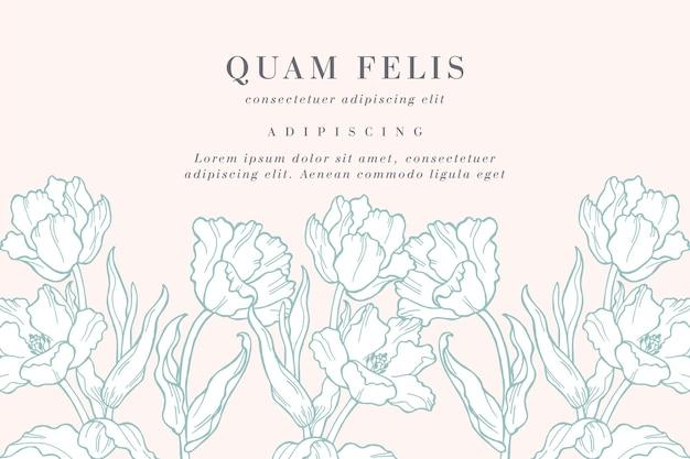 Tarjeta vintage con ilustración de flores de tulipán