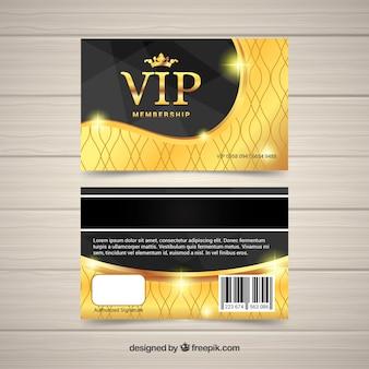 Tarjeta vip con diseño dorado