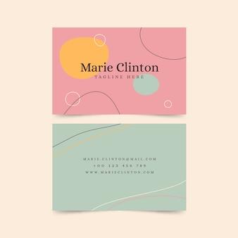 Tarjeta de visita abstracta con colección de plantillas de manchas de color pastel