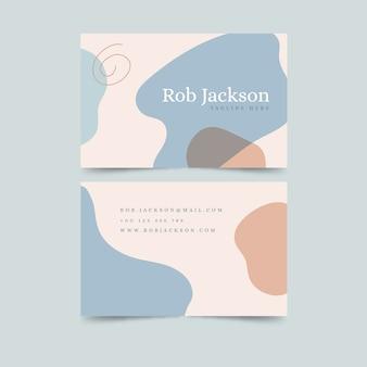 Tarjeta de visita abstracta de color pastel con manchas