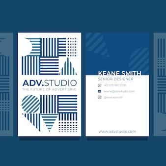 Tarjeta de visita abstracta concepto azul clásico