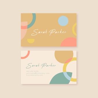 Tarjeta de visita abstracta con paquete de plantillas de manchas de color pastel