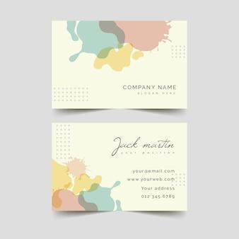 Tarjeta de visita abstracta de plantilla con mancha de color pastel
