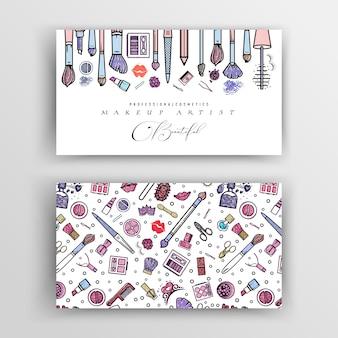 Tarjeta de visita del artista de maquillaje. plantilla de vector para su diseño.