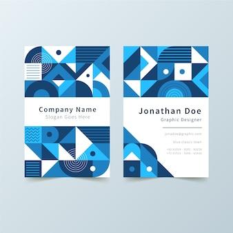 Tarjeta de visita azul abstracta con formas geométricas
