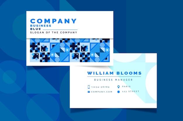 Tarjeta de visita azul clásica abstracta