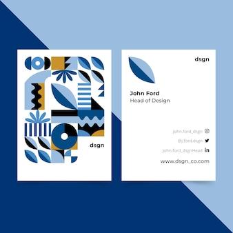 Tarjeta de visita azul clásica de diseño abstracto