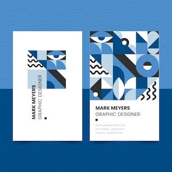 Tarjeta de visita azul clásica de estilo abstracto