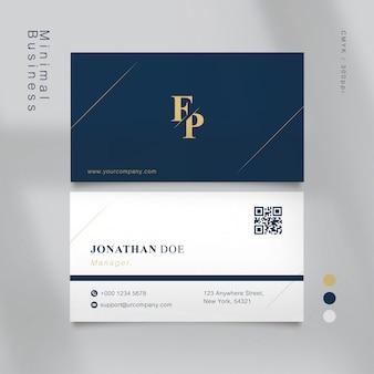 Tarjeta de visita azul clásica con formas minimalistas de color dorado