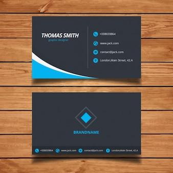 Tarjeta de visita azul minimalista