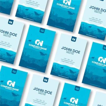 Tarjeta de visita azul del restaurante del océano