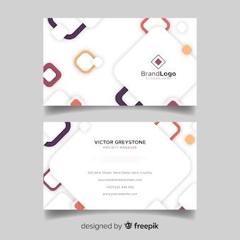 Tarjeta de visita blanca abstracta con logo