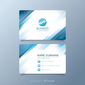 Tarjeta de visita blanca con logo y formas azules