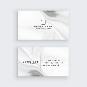 Tarjeta de visita blanca de mármol del estilo moderno
