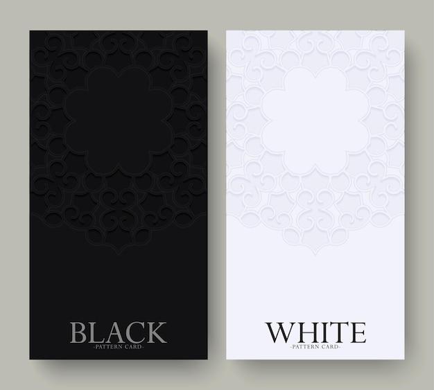 Tarjeta de visita blanca y negra de lujo y plantilla de vector de logotipo de adorno vintage. diseño de marco ornamental elegante retro florece con fondo de patrón