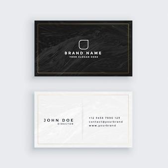 Tarjeta de visita en blanco y negro con textura de mármol