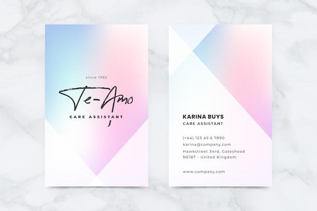Tarjeta de visita en color pastel