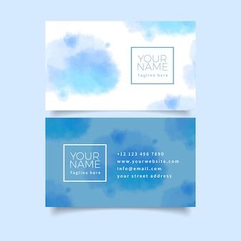 Tarjeta de visita de colores azul pastel y pinceladas