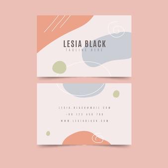Tarjeta de visita con conjunto de plantillas abstractas de manchas de color pastel