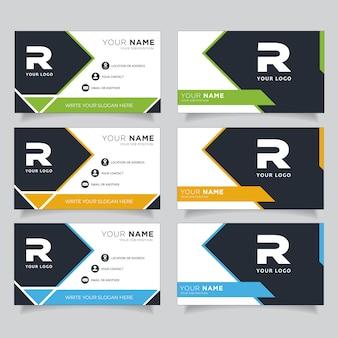 Tarjeta de visita creativa moderna verde, azul, naranja y negra oscura y tarjeta de presentación