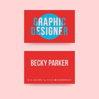 Tarjeta de visita creativa roja del diseñador gráfico