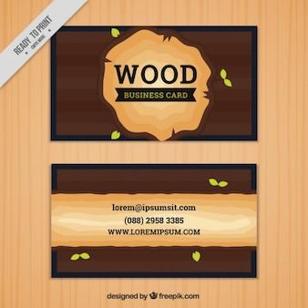 Tarjeta de visita decorada con una rodaja de madera