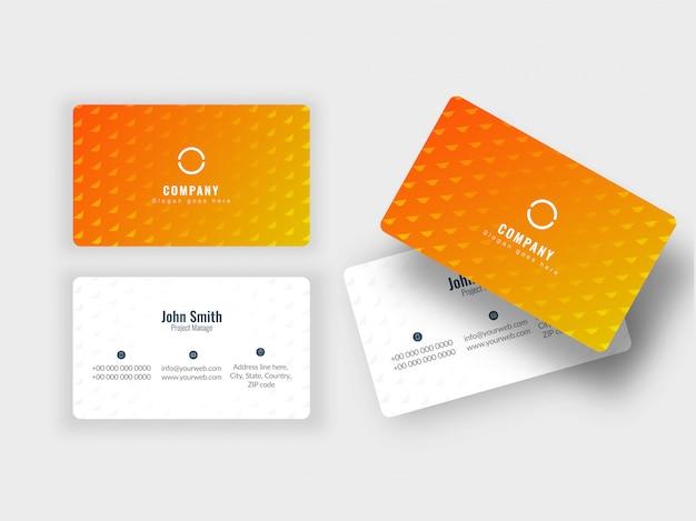 Tarjeta de visita de diseño de color naranja y blanco o conjunto de tarjeta de visita.