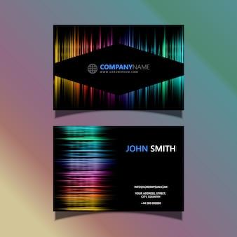 Tarjeta de visita con un diseño de espectro coloreado.