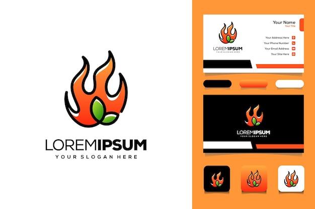 Tarjeta de visita de diseño de logotipo de hoja caliente