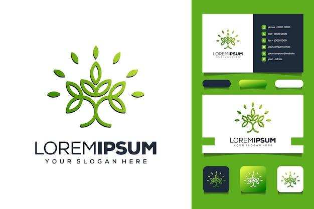 Tarjeta de visita de diseño de logotipo de hoja de personas abstractas