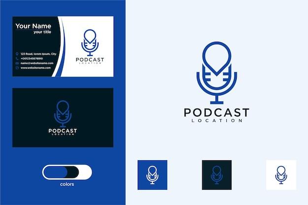 Tarjeta de visita de diseño de logotipo de ubicación de podcast