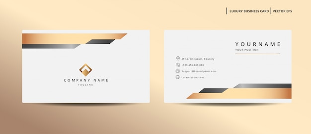 Tarjeta de visita de diseño de lujo con plantilla minimalista de estilo dorado