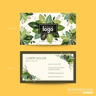 Tarjeta de visita, diseño de tarjeta de presentación con hojas verdes