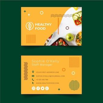 Tarjeta de visita de doble cara bio y comida sana.