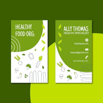Tarjeta de visita de doble cara bio & healthy food