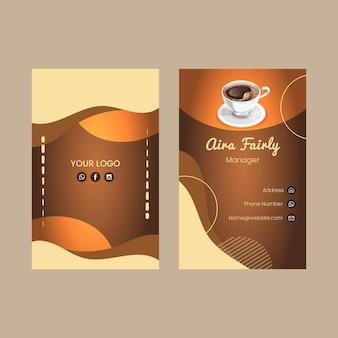 Tarjeta de visita de doble cara de café