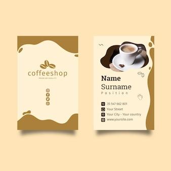 Tarjeta de visita de doble cara de cafetería